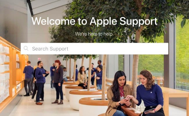 A screenshot of the welcome page from Apple's support website