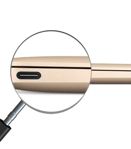 MacBook and magnifying glass on USB-C port
