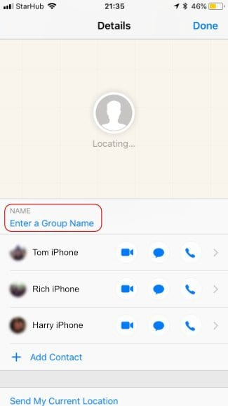 Screenshot of the Group Chat Details Page highlighting where to Enter a Group Name