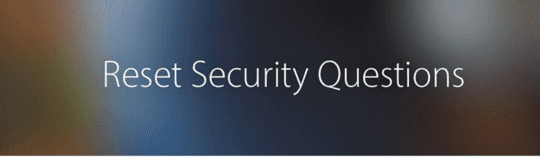 Image from the Apple ID website to Reset Security Questions