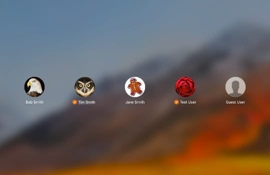 MacOS login screen showing multiple users