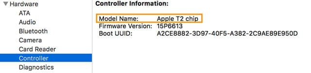 T2 chip on Mac in System Information