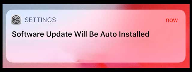 notification for iOS software automatic update