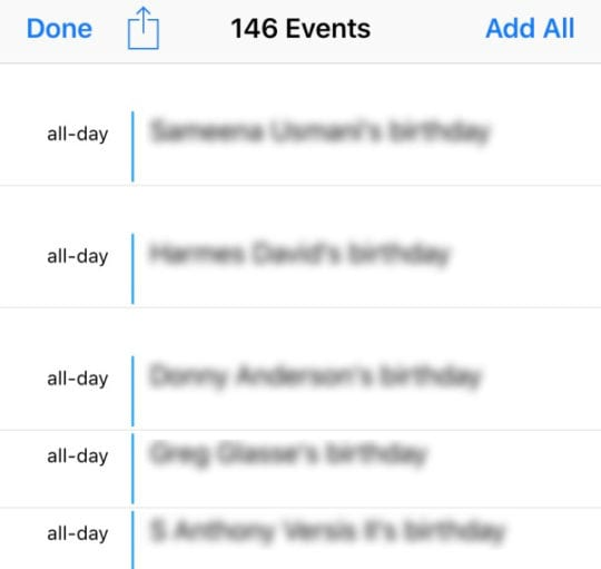 Calendar App iOS Add Facebook Events or Birthdays Add All or One at a time