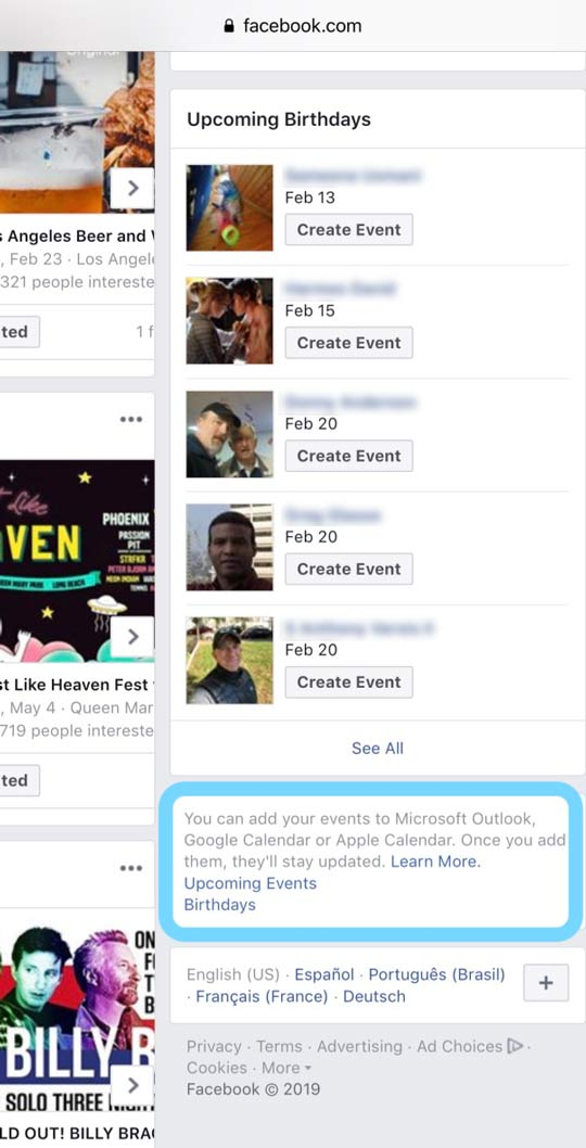 iOS calendar app add facebooks events or birthdays