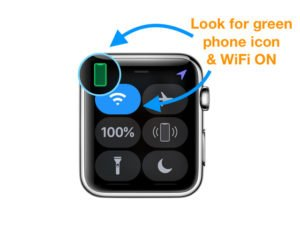 Control Center on Apple Watch WiFi on and phone connected