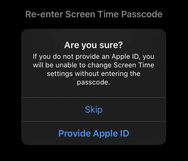 screen time passcode recovery with Apple ID asking are you sure?