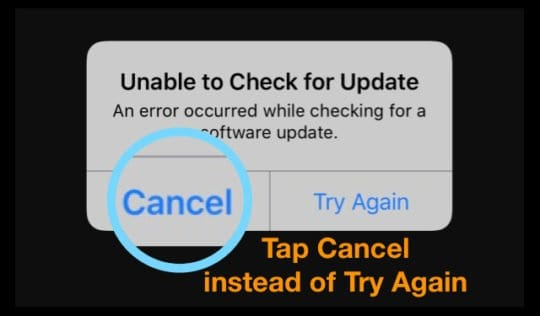 cancel a software update that won't download