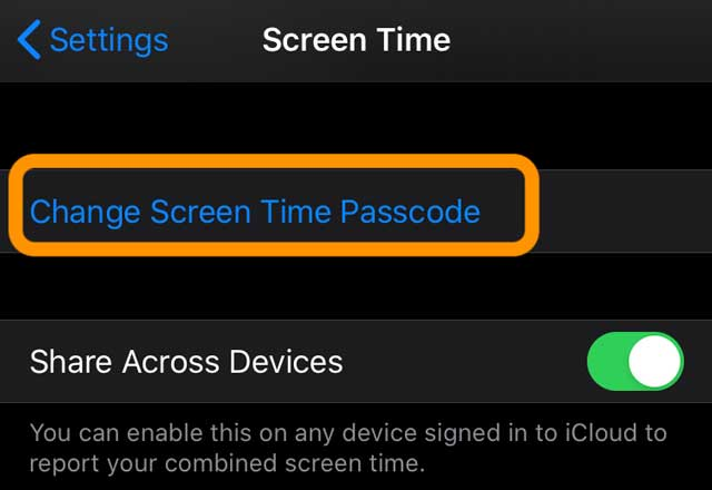 iPadOS and iOS change screen time passcode