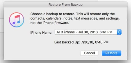 Choose a backup to restore from in iTunes
