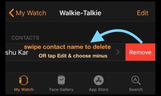 remove contact from Walkie Talkie app via iPhone