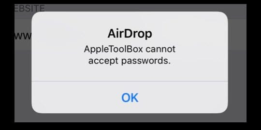 cannot accept AirDrop passwords