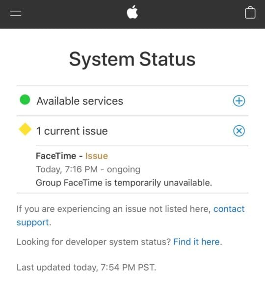Apple FaceTime Servers Down on Apple System Status