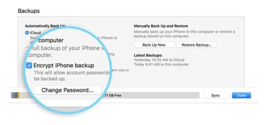 iTunes Encrypt option for iPhone backups