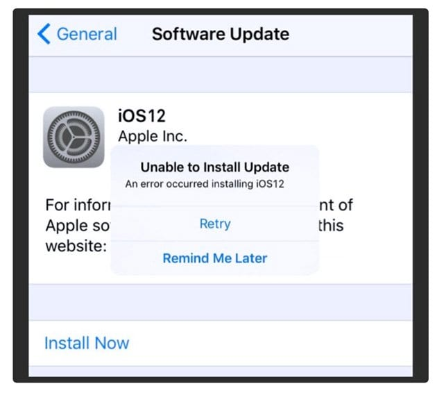 Error Occurred Installing iOS 12 on iPhone or iPad, How-To