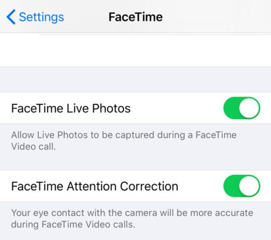 facetime attention correction