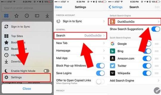 Change Search Engine Firefox iOS