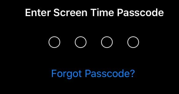 forgot screen time passcode Apple ID option to reset