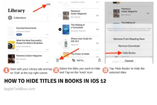 How to Hide books in iOS 12