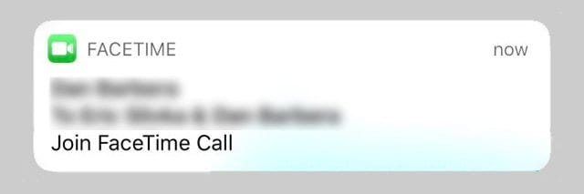 Group FaceTime Notification on iPhone or iPad