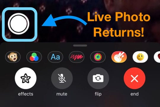 FaceTime live photos iOS 12.1.1