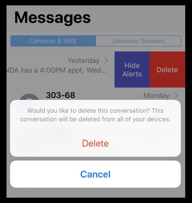 Text message iMessage conversation delete message from all devices