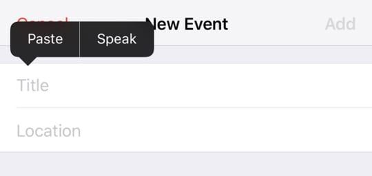 copy one iOS calendar event into a new iOS calendar event on iPhone using paste title command