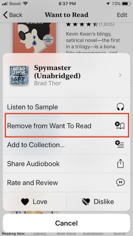 Remove Books from Wishlist in iOS Books app