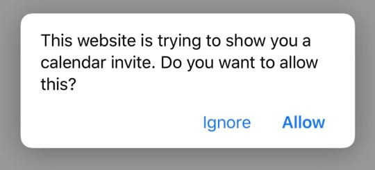 Safari message this website is trying to show you a calendar invite, do you want to allow this