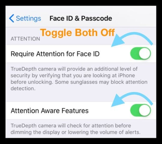 Turn Off Face ID Attention Settings on iPhone