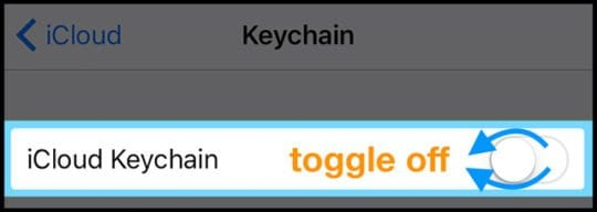 Turn off iCloud Keychain