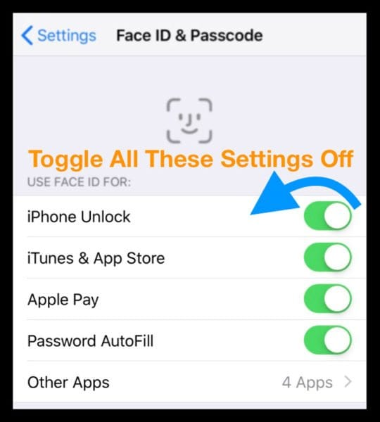 turn off Use Face ID For on iPhone