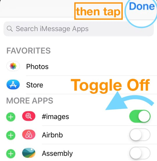 Message App #images toggle off