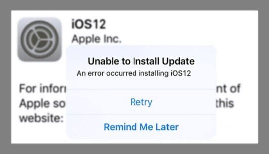 Unable to Install Update to iOS 12 on-screen message error