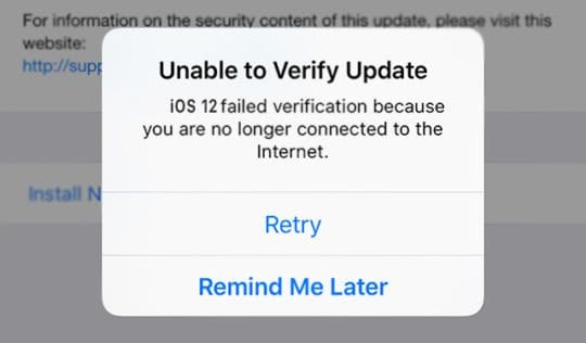 Unable to verify Update for iOS 12 on iPhone