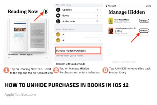 How to Unhide books in iOS 12