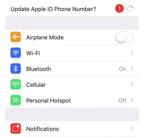 Update Apple ID Phone Number alert message in settings