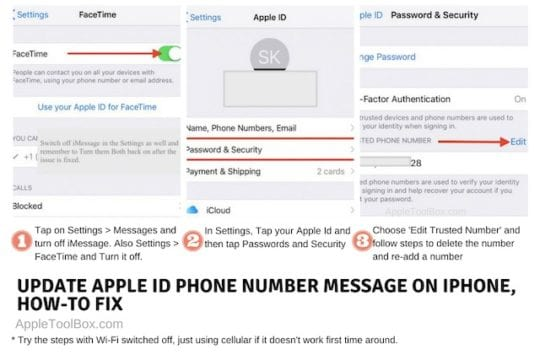 Update Apple ID Phone Number message in Settings, How-To Fix