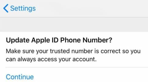 message asking you to update Apple ID phone number