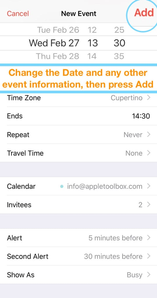 update copied iOS calendar event information iPhone