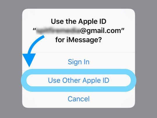 Use Other Apple ID for iMessage Pop-Up