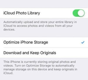 iCloud Photo Library Optimize Phone Storage