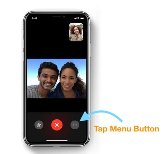 When on an iOS 12 FaceTime video call, tap the button with three dots in the lower-right corner of the screen