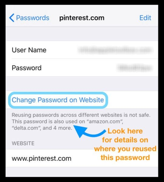 How To change a password you already used on iPhone or iPad with iOS 12