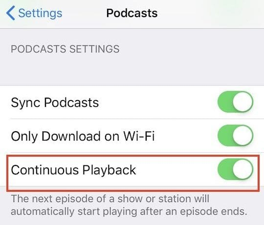 iOS 12 Continuous Playback in Podcasts
