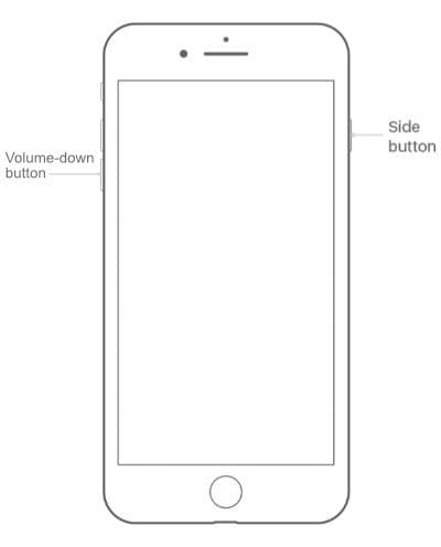 Diagram of an iPhone 7 that highlights the Side button and the Volume-down button