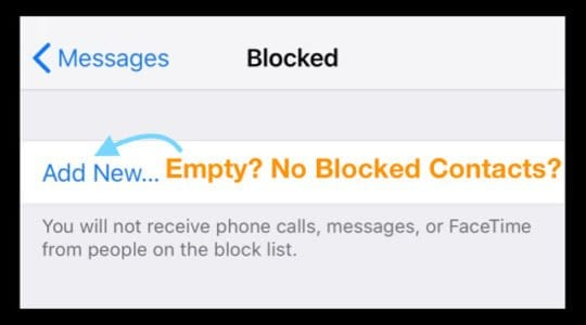 Blocked Call List Empty on iPhone