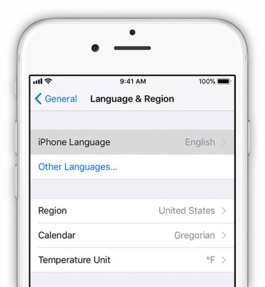 iOS General Setting for Language & Region on iPhone