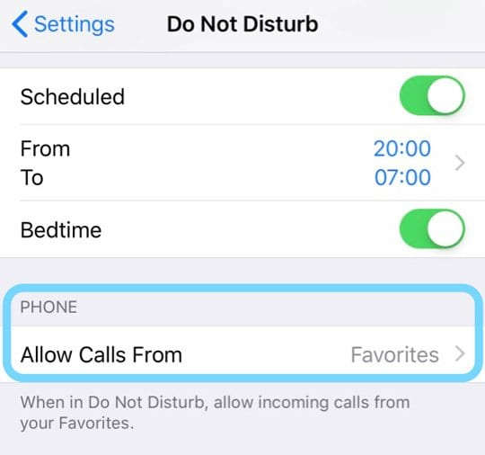 do not disturb settings to allow calls from friends and family