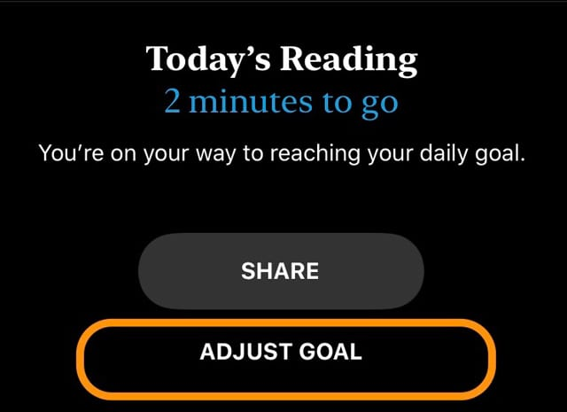 adjust reading goal in apple books iOS 13 and iPadOS